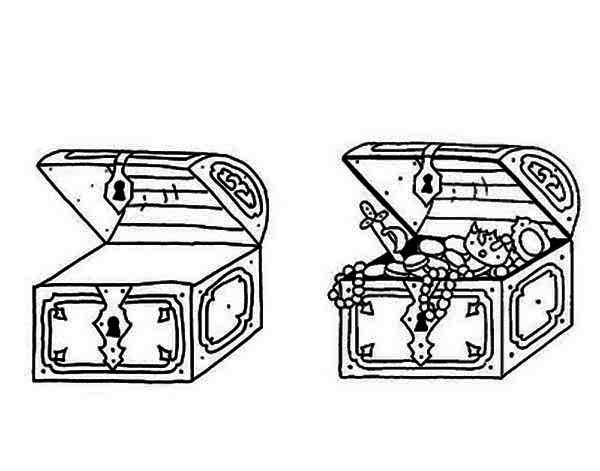 Treasure Chest, : Find Differencies from These Two Treasure Chests Coloring Page