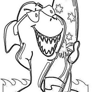 funky shark and his surf board on australia day coloring page