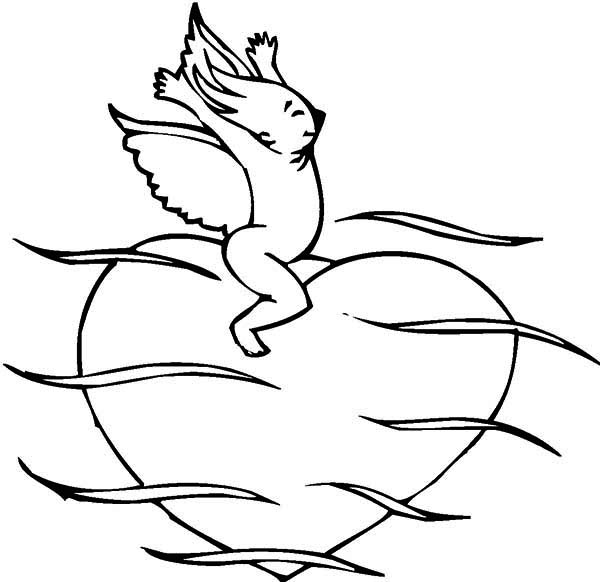 Valentine's Day, : Funny Cupid Riding Big Heart on Valentine's Day Coloring Page