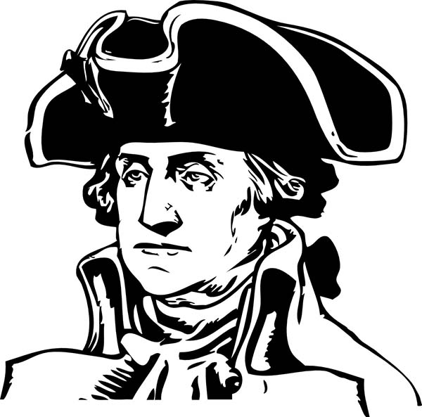 George Washington, : George Washington During the American Revolutionary War Coloring Page