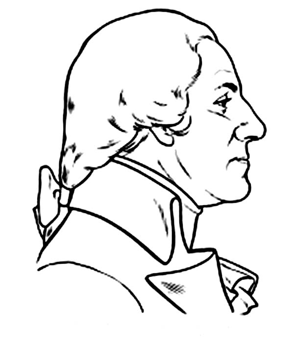 George Washington, : George Washington Portrait from the Rear Coloring Page