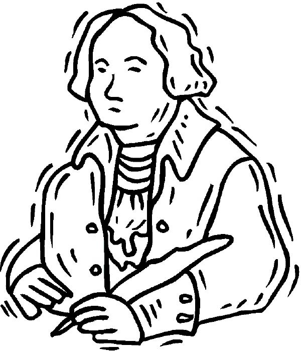 George Washington, : George Washington in Art Graphic Coloring Page