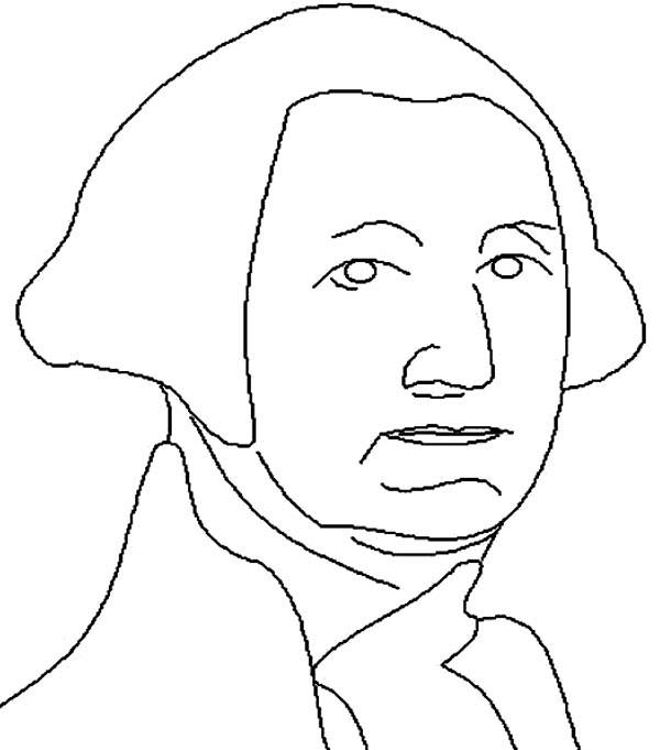 George Washington, : George Washington in Lineart Drawing Coloring Page