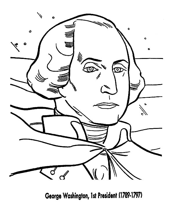 George Washington, : George Washington the 1st US President from 1789-1797 Coloring Page