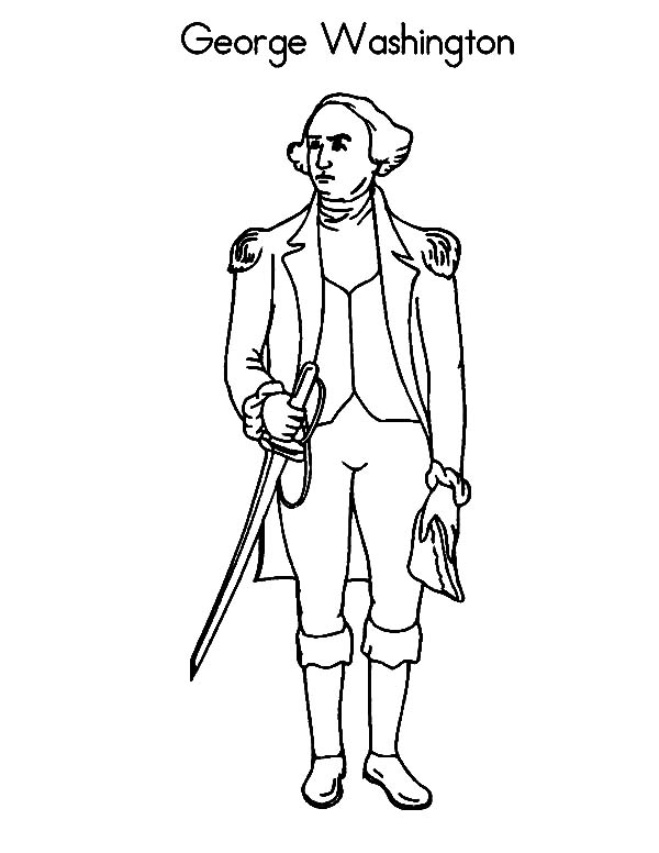 George Washington, : George Washington the Commanderof the Continental Army Coloring Page