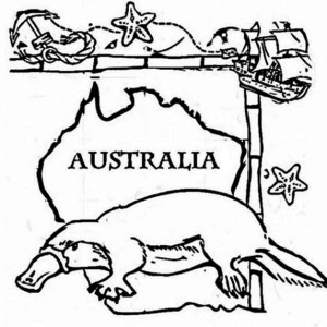 happy australia day say the platypus coloring page