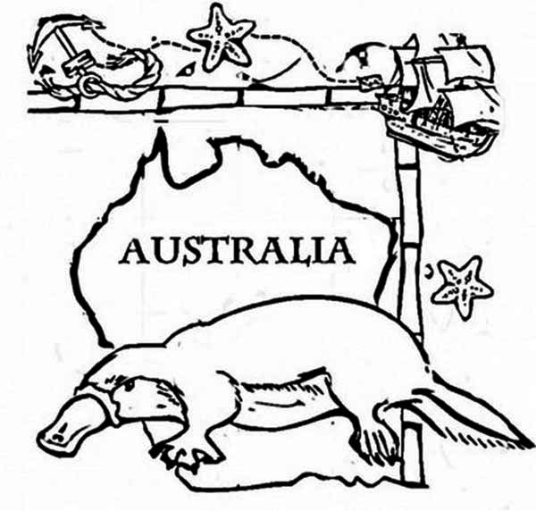Australia Day, : Happy Australia Day Say the Platypus Coloring Page