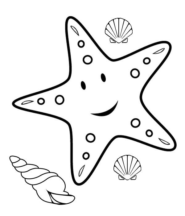 Starfish, : Happy Starfish Coloring Page