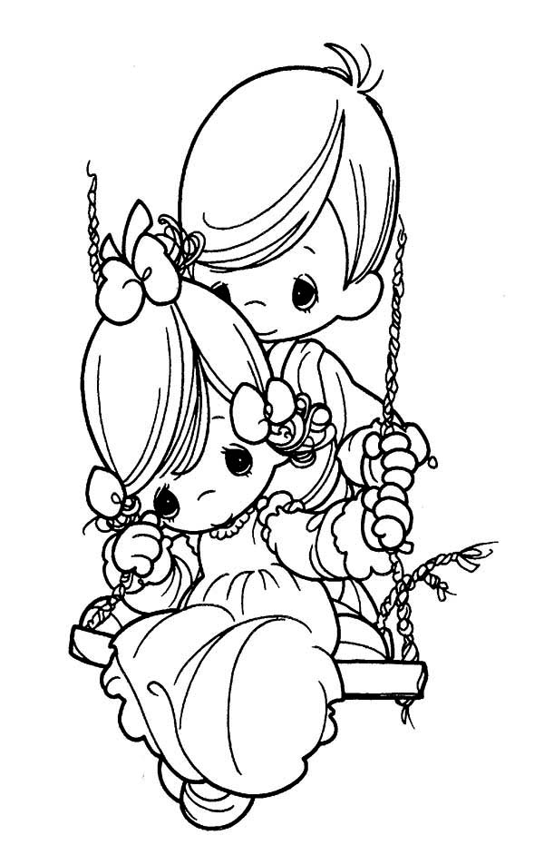 Precious Moments, : Hold Me Tight Precious Moments Coloring Page
