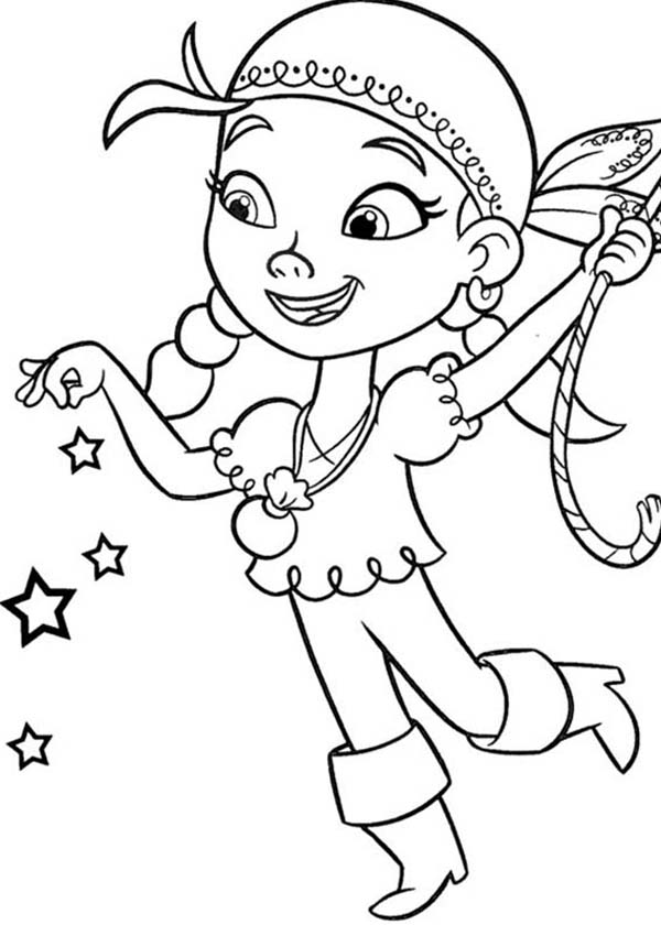 Jake and the Neverland Pirates, : Izzy Use Her Pixie Dust Given by Tinker Bell Coloring Page
