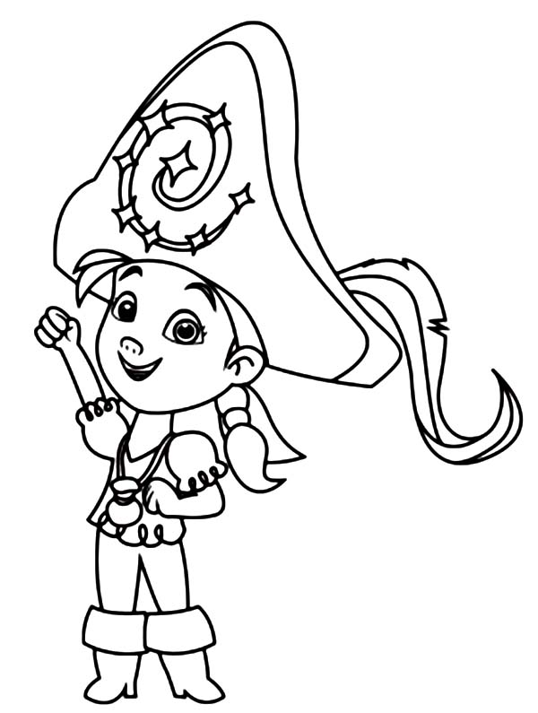 Jake and the Neverland Pirates, : Izzy Wearing a Big Captain Hat Coloring Page