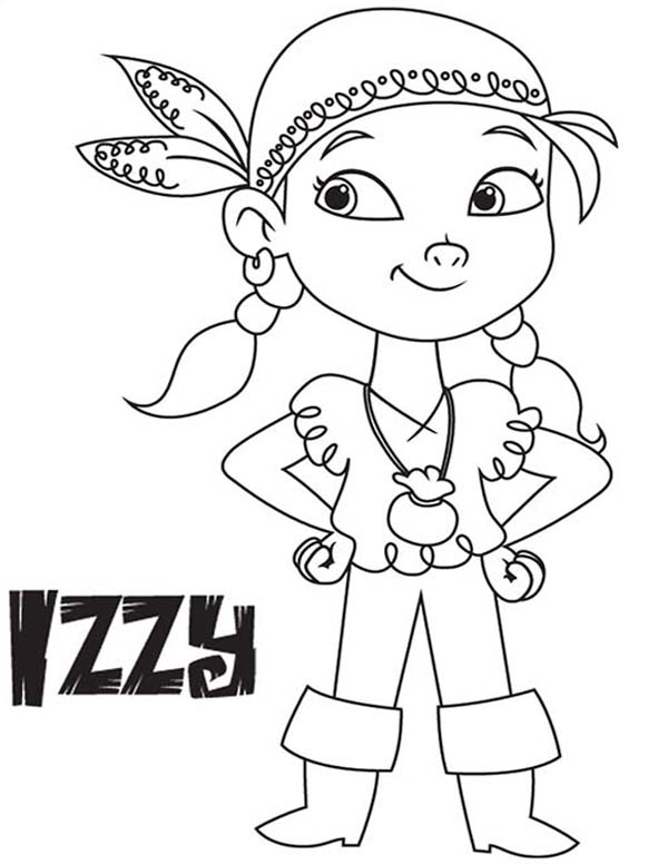 Jake and the Neverland Pirates, : Izzy the Vice Captain of Never Land Pirates Coloring Page