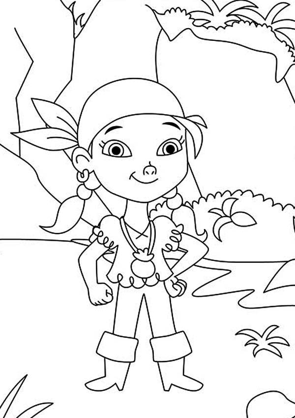 Jake and the Neverland Pirates, : Izzy the Young Pirate Girl from the Neverland Pirates Team Coloring Page