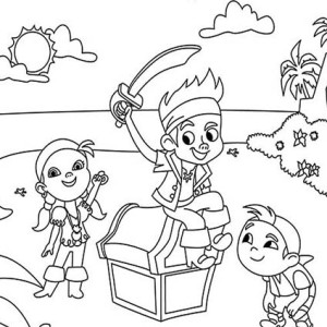 jake izzy and chubby found a treasure chest coloring page - Jake Neverland Coloring Pages