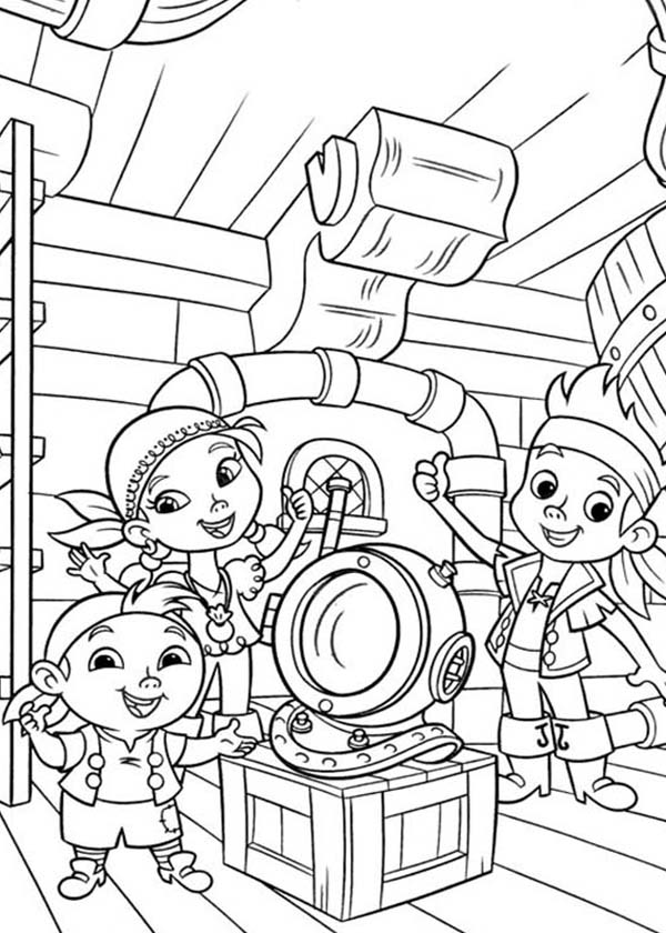 Jake and the Neverland Pirates, : Jake Izzy and Chubby Found an Old Dive Helmet Coloring Page