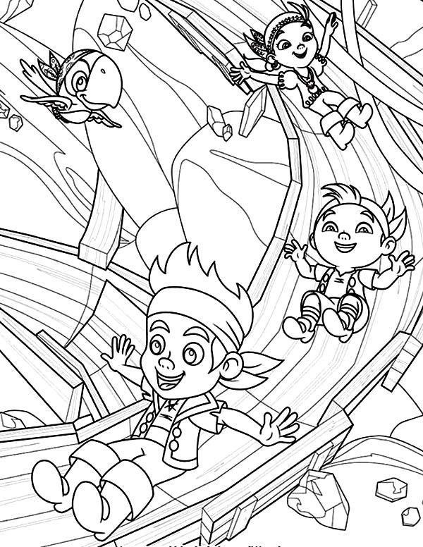 Jake and the Neverland Pirates, : Jake Izzy and Chubby Playing Slides Coloring Page