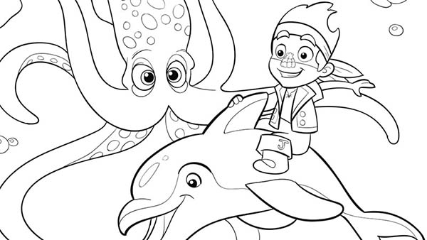 Jake and the Neverland Pirates, : Jake Riding the Dolphin Coloring Page
