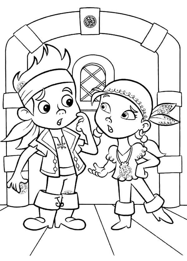 Jake and the Neverland Pirates, : Jake and Izzy in Arguing Coloring Page