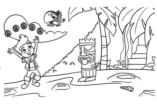 Jake and the Neverland Pirates, : Jake and Scully Found a New Island Coloring Page