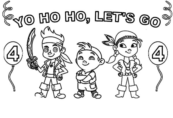 Jake and the Neverland Pirates, : Jake and the Neverland Pirates Singing Yo Ho Ho Lets Go Coloring Page