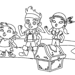 jake and the neverland pirates team found treasures coloring page - Jake Neverland Coloring Pages