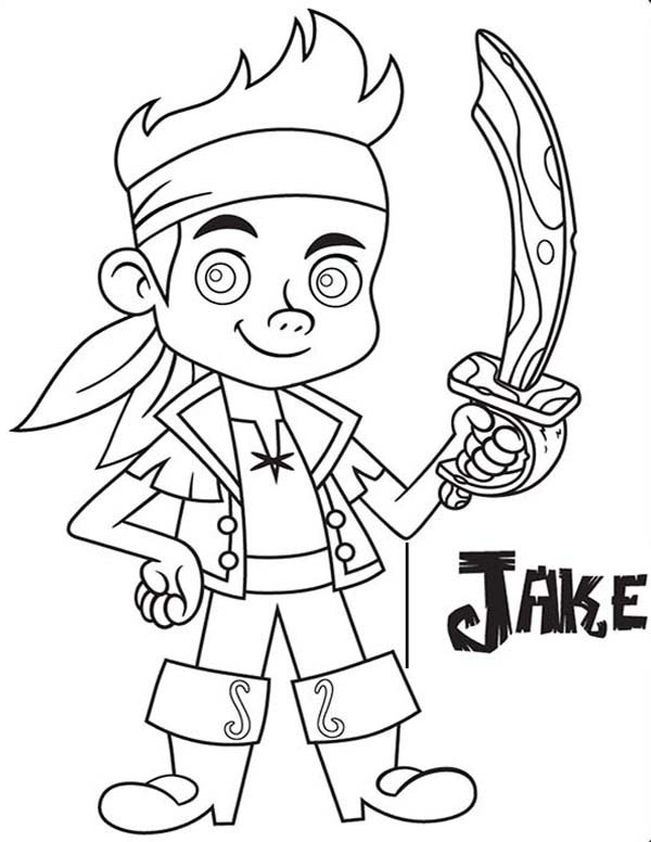 Jake and the Neverland Pirates, : Jake with His Wooden Sword from the Forever Tree Coloring Page
