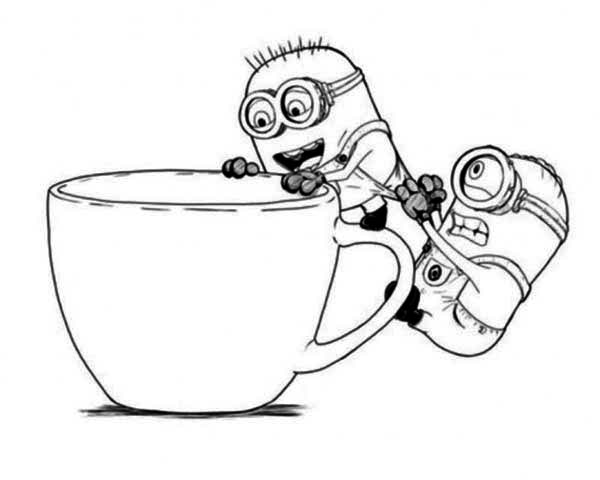 Minion, : Jerry Stuart and The Minion Want to Get in The Cup Coloring Page