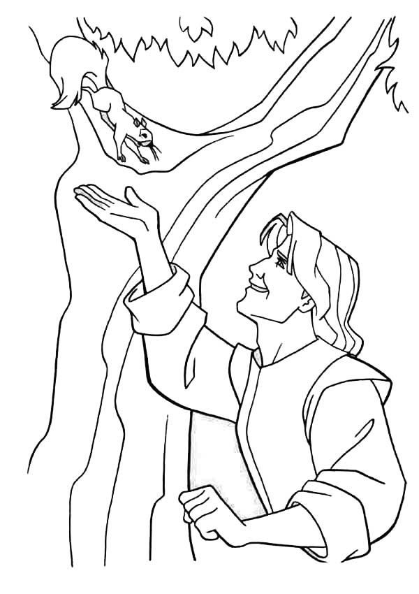 Pocahontas, : John Smith and Squirrel Pocahontas Coloring Page