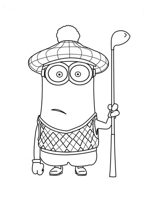 Minion, : Kevin The Golfer The Minion Coloring Page