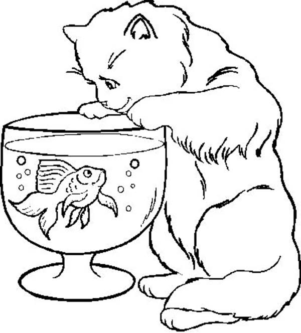 Kitty Cat, : Kitty Cat Trying to Cat a Fish in a Bowl Coloring Page