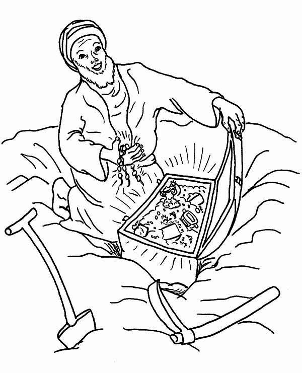Treasure Chest, : Korah and His Treasure Chest Coloring Page