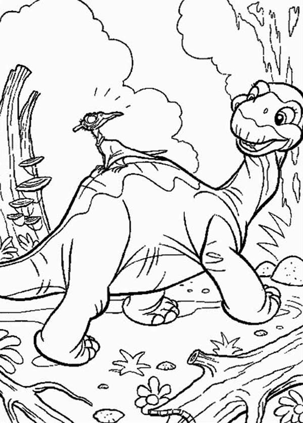 Land Before Time, : Land Before Time Family Petrie Aroound the Jungle Coloring Page