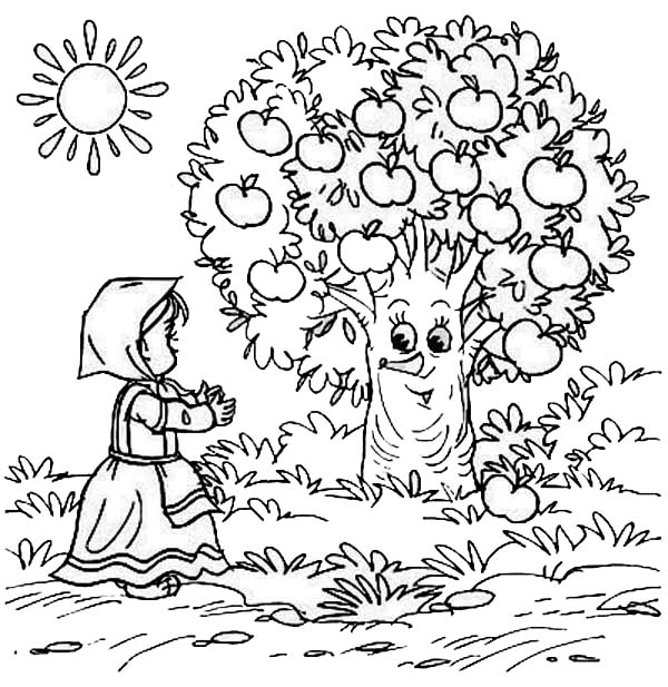 Apple Tree, : Little Girl and Happy Apple Tree Coloring Page