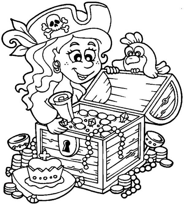 Treasure Chest, : Little Pirate Girl and Her Treasure Chest Coloring Page
