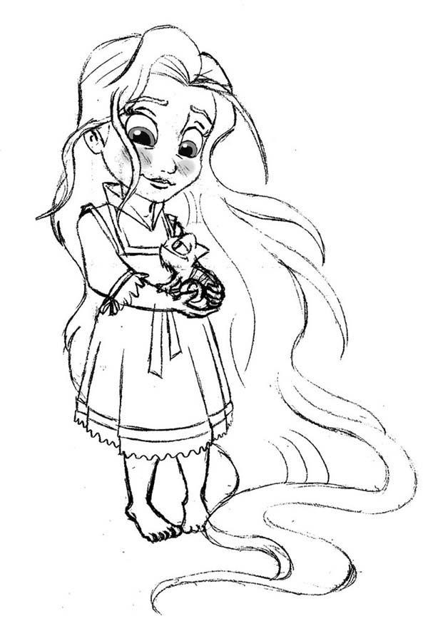 Rapunzel, : Little Rapunzel Coloring Page