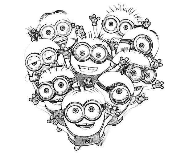 Minion, : Love The Minion Coloring Page