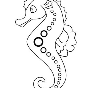 lovely seahorse in cartoon coloring page