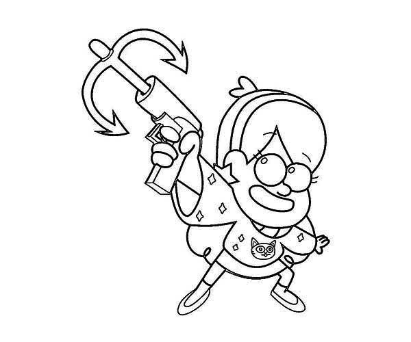 Gravity Falls, : Mabel Pines with Anchor Gun Gravity Falls Coloring Page