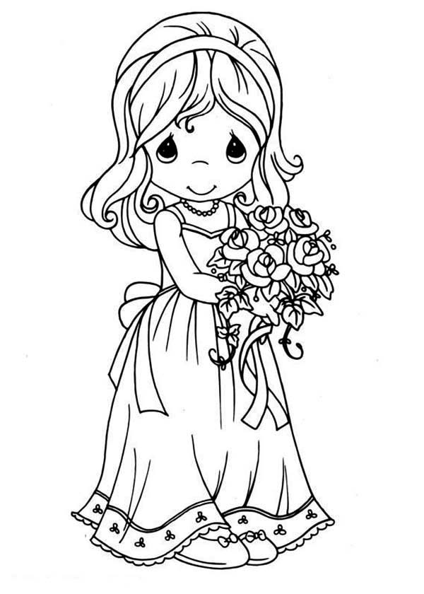 Precious Moments, : Maid of Honor Precious Moments Coloring Page