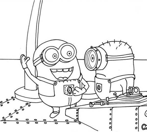 Minion, : Mark and Bob The Minion Coloring Page