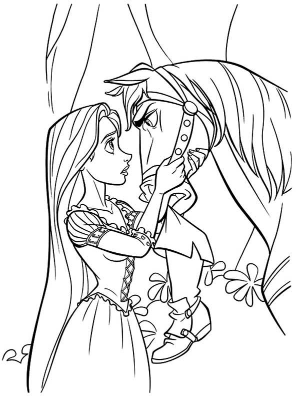 Rapunzel, : Maximus and Rapunzel Coloring Page