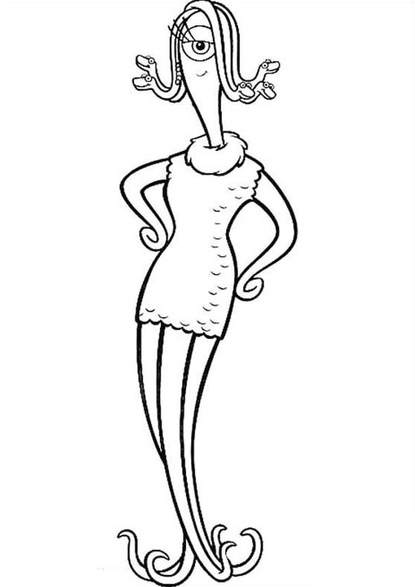 Monsters Inc, : Meet Celia Mae, Mikes Girlfriend in Monsters Inc Coloring Page