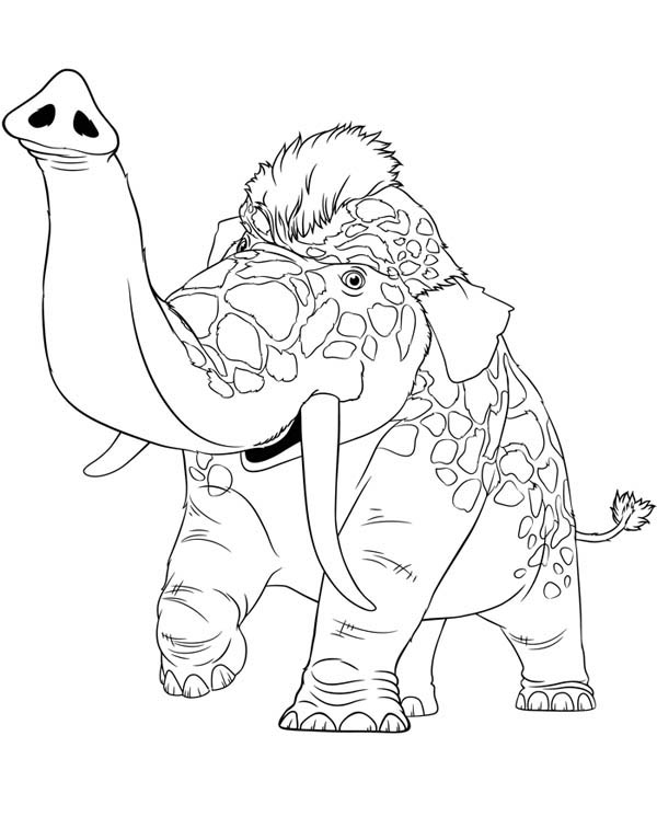 The Croods, : Meet Girelephant from the Croods Coloring Page