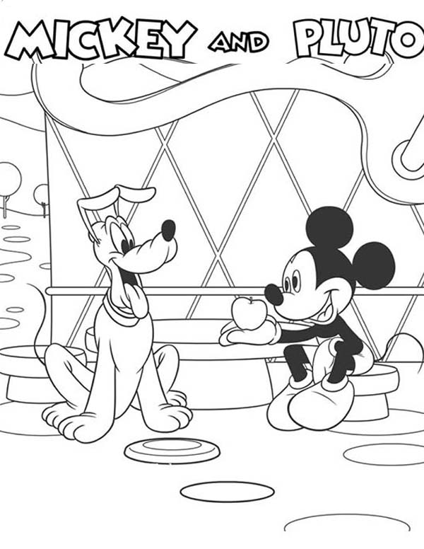 Mickey Mouse Clubhouse, : Meet Mickey and Pluto in Mickey Mouse Clubhouse Coloring Page