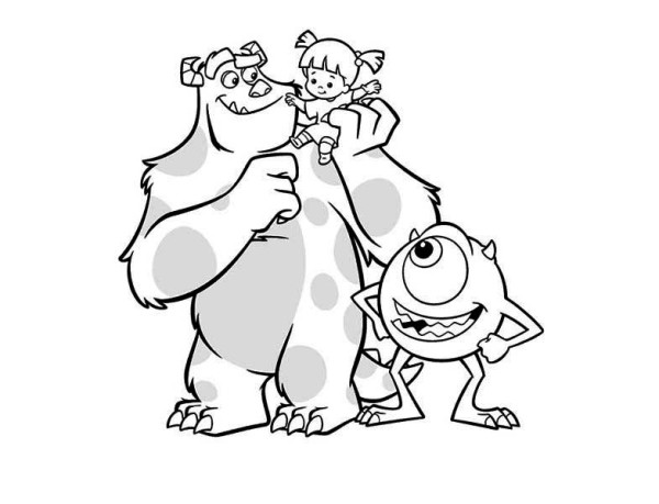 Monsters Inc, : Meet Sulley, Boo and Mike in Monsters Inc Coloring Page