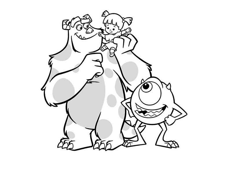 meet sulley boo and mike in monsters inc coloring page