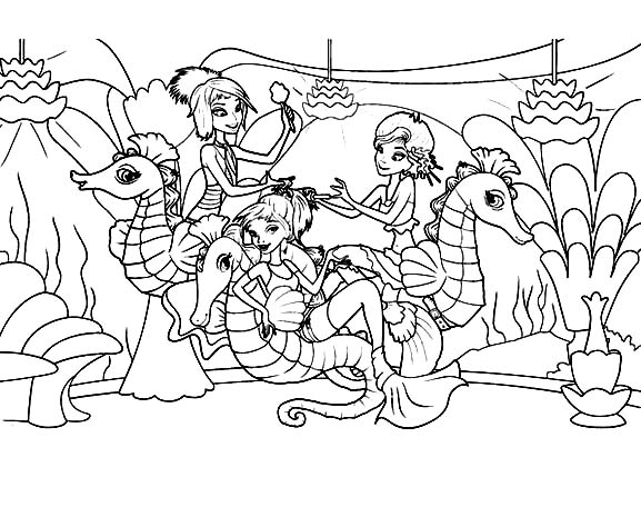 Seahorse, : Mermaids Playing with Seahorse Under the Sea Coloring Page