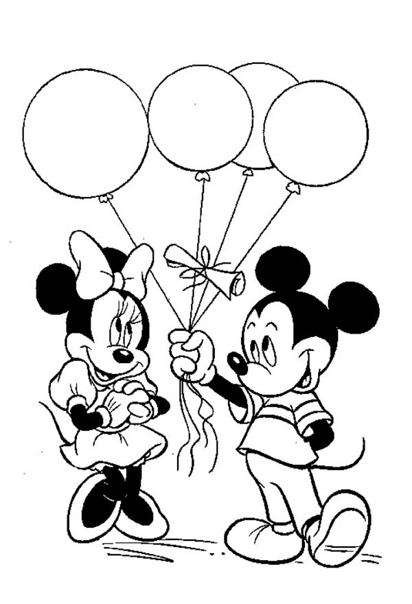 Mickey Mouse Clubhouse, : Mickey Give a Ballon Gift to Minnie in Mickey Mouse Clubhouse Coloring Page