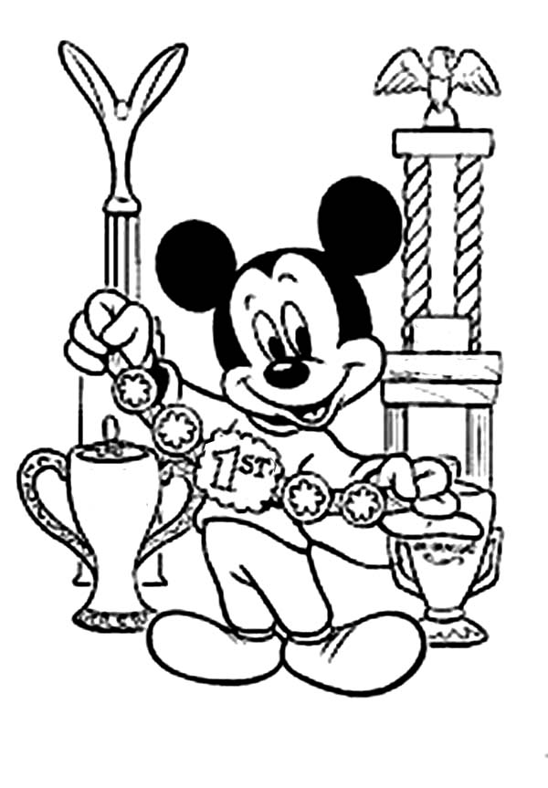 Mickey Mouse Clubhouse, : Mickey Won the 1st Medal in Mickey Mouse Clubhouse Coloring Page
