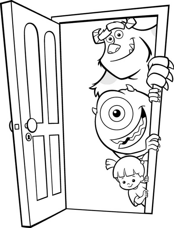 Monsters Inc, : Mike, Sulley and Boo In Front of the Door in Monsters Inc Coloring Page